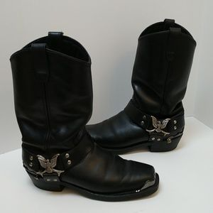 Dingo Leather Motorcycle Boot with Eagle strap